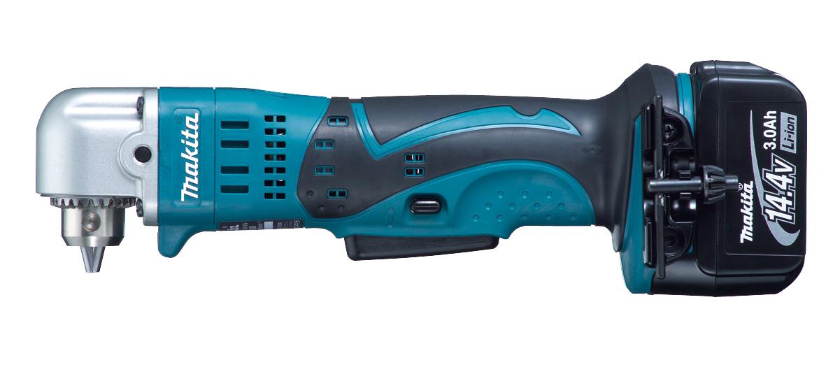 マキタ 14.4Vアングルドリル 青 DA340DRF バッテリ(3.0Ah)1個 充電器1個 ケース付き 〈鉄工10mm、木工25mm〉