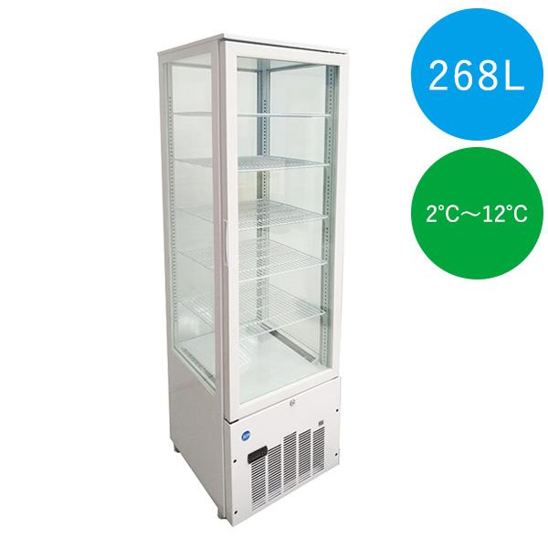 4面ガラス冷蔵ショーケース(片面扉)【JCMS-268】500×535×1683mm