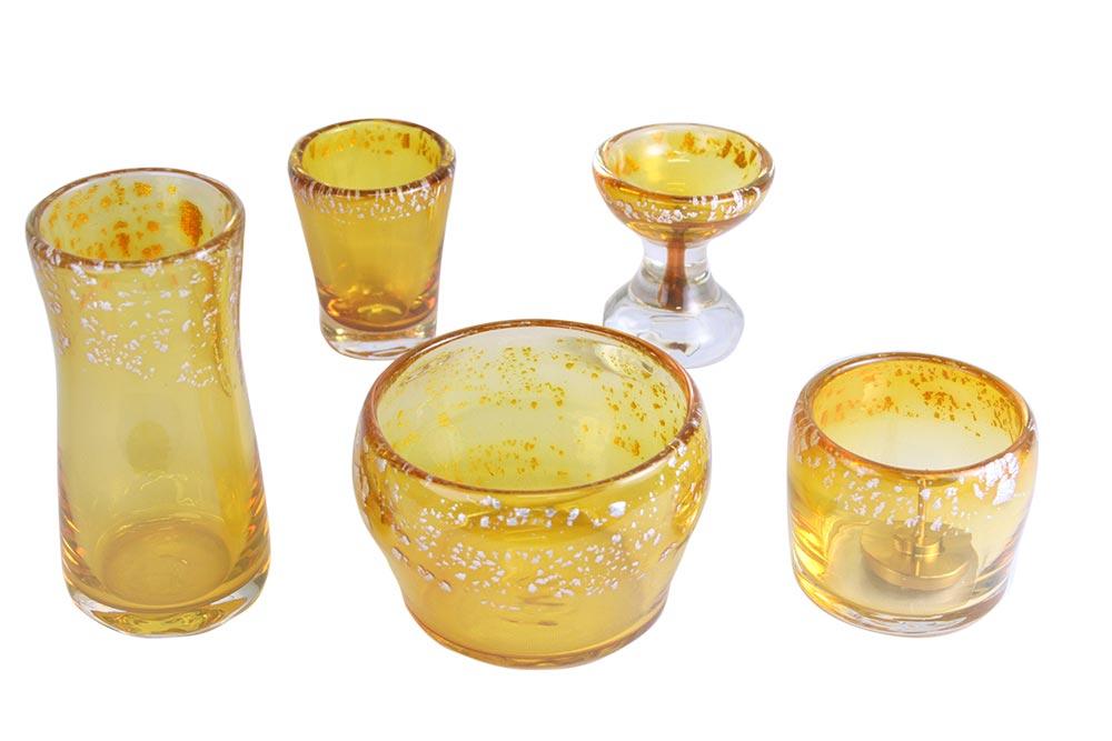 モダン仏具 はるかガラス5点セット レモン 【smtb-TK】0902i002a