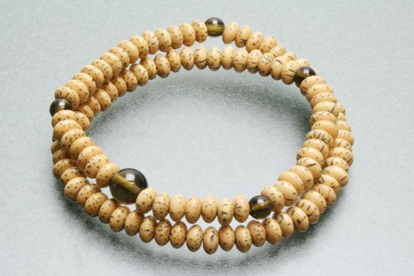 数珠 ブレスレット 星月菩提樹108ヶ平玉茶水晶入 z048