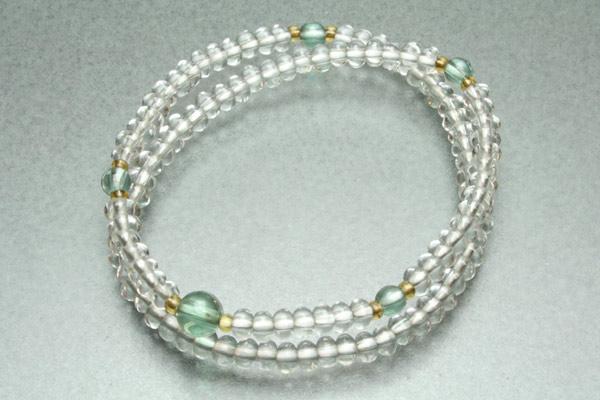 数珠 ブレスレット 本水晶108玉×グリーンクォーツ 【smtb-TK】z055