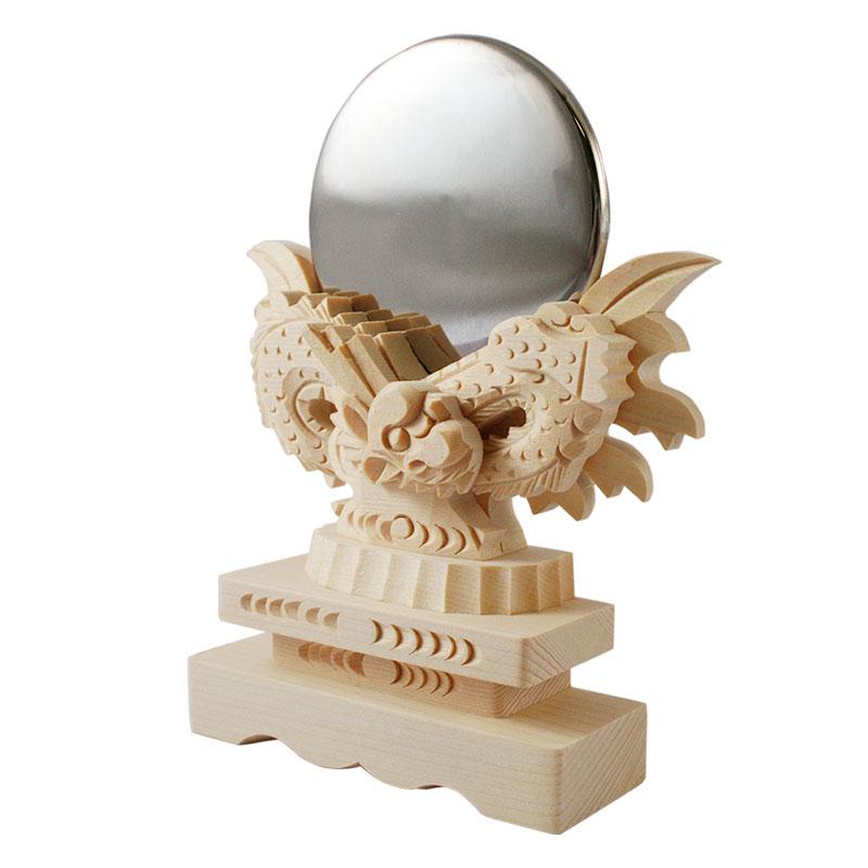 神具 神鏡 神棚用神具 神鏡 竜彫り(龍彫り)桧製台付 2寸 1404a004a
