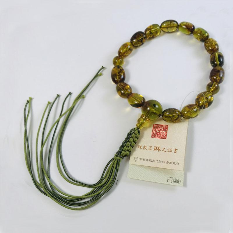 数珠 男性用 グリーンアンバーなつめ型15玉 正絹下網紐房 桐箱入 【smtb-TK】a102