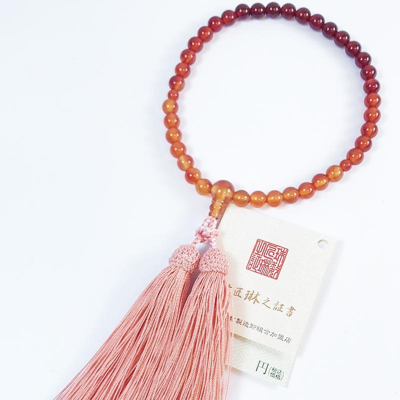数珠 女性用 瑪瑙霞仕立て(メノウ)正絹松風頭房 桐箱入 【smtb-TK】b062