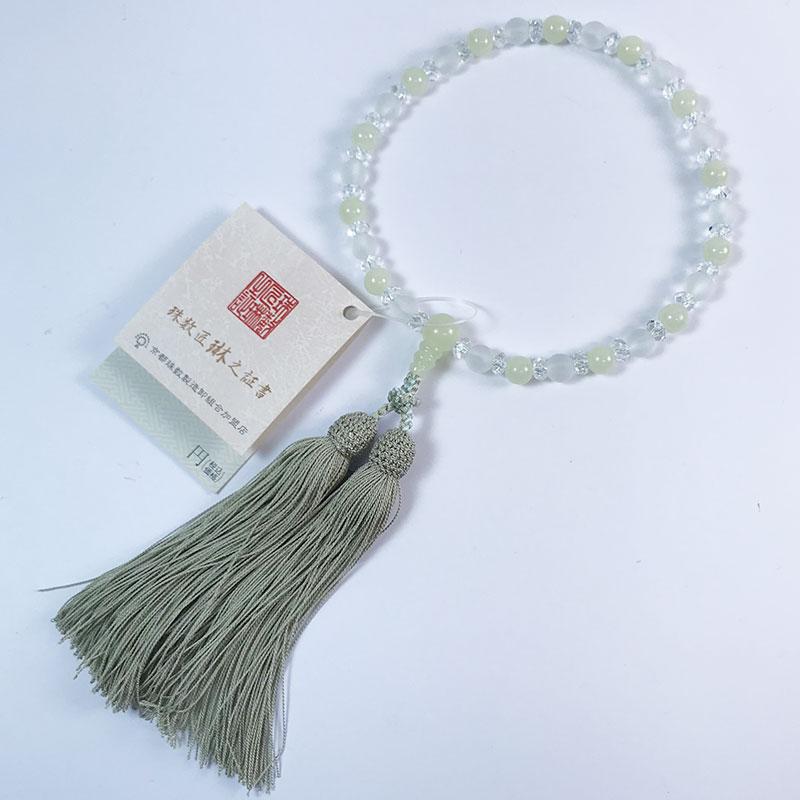 数珠 女性用 淡雪水晶×グリーンオニキス 正絹松風頭房 桐箱入 【smtb-TK】b102