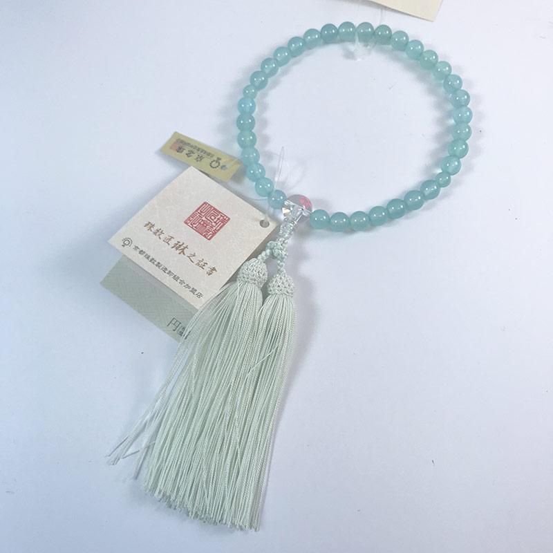 数珠 子供用 アクアメノウ8mm 親珠水晶桜彫 正絹松風頭房 桐箱入 b121