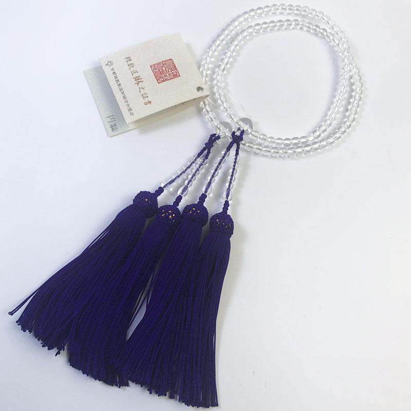 数珠 女性用 本式数珠 二連 本水晶(クオーツ)108玉:正絹頭房(紫色) 桐箱入 【smtb-TK】c005