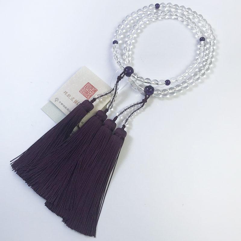数珠 女性用 二連寸法切 本水晶(クオーツ)紫水晶仕立:正絹切房 桐箱入 【smtb-TK】c013