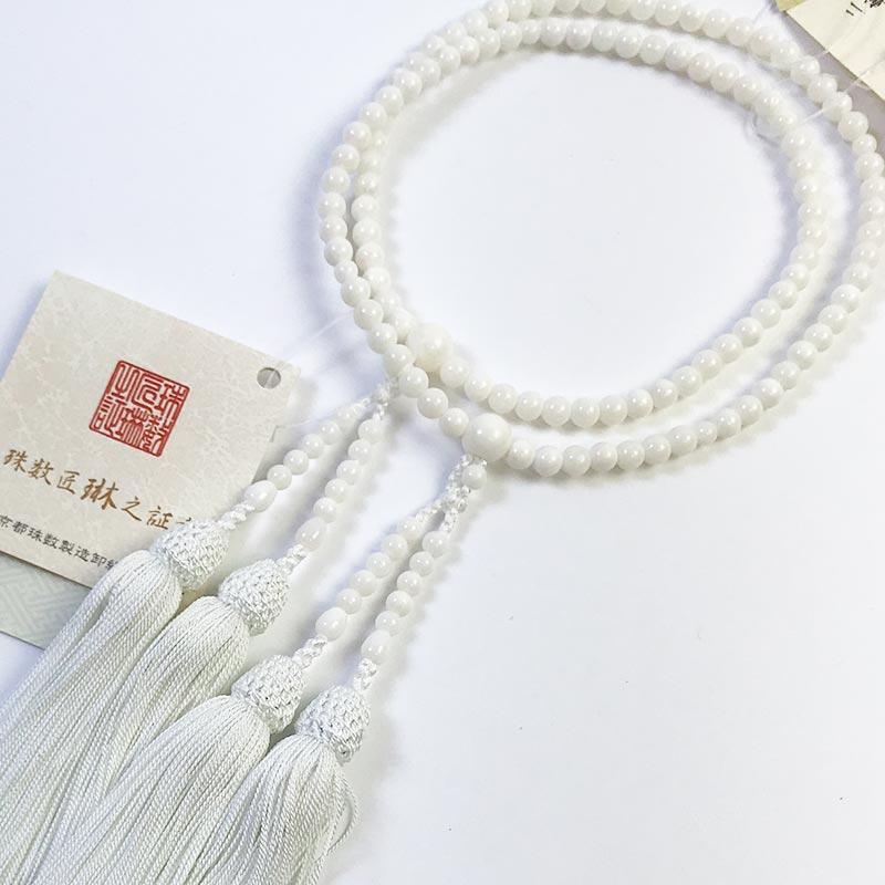数珠 女性用 本式数珠 二連 本珊瑚108玉:正絹松風頭房(白色) 桐箱入 【smtb-TK】c025