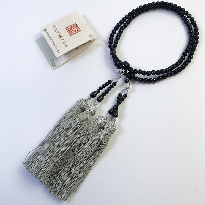 数珠 女性用 本式数珠 二連 青虎目石108玉:正絹松風頭房 桐箱入 【smtb-TK】c036