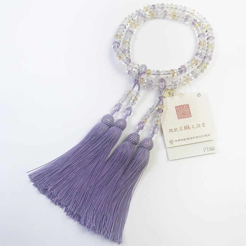 数珠 女性用 本式数珠 二連 ミックスクォーツ楕円108玉:正絹松風頭房 桐箱入 【smtb-TK】c041
