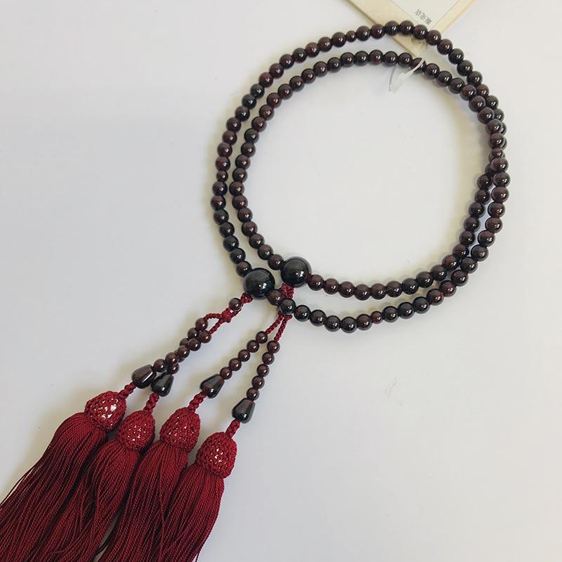 数珠 女性用 本式数珠 二連 ガーネット108玉:正絹松風頭房 桐箱入 【smtb-TK】c044