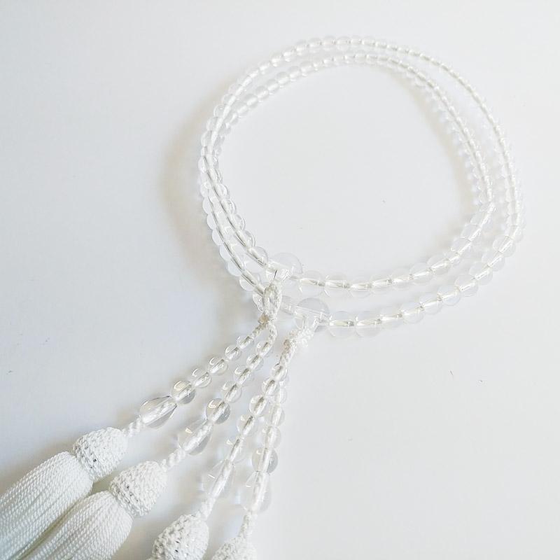 数珠 女性用 本式数珠 二連 サイズグラデーション天然水晶共仕立:正絹松風頭房 桐箱入 【smtb-TK】c057