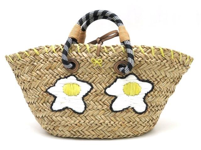ANYA HINDMARCH アニヤハインドマーチ バッグ ハンドバッグ Fried Eggs Basket Small 目玉焼き バスケット ストロー ベージュ【473】【中古】【大黒屋】