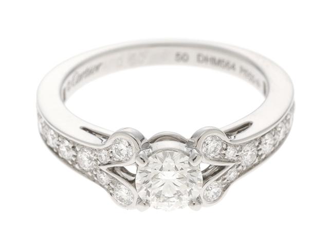 【送料無料】Cartier カルティエ ダイヤモンド リング ハーフエタニティバレリーナリング プラチナ950 D0.50 5.6g #50【430】【中古】【大黒屋】