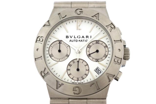 【送料無料】BVLGARI 時計 ディアゴノスポーツ クロノ CH35S オートマチック SS ホワイト文字盤【439】【中古】【大黒屋】