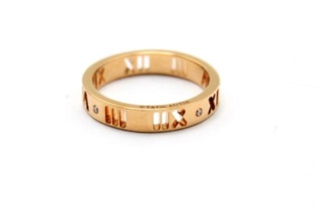 TIFFANY&CO ティファニー リング・指輪 アトラス ピンクゴールド 4Pダイヤモンド 9号 SJ【472】【中古】【大黒屋】