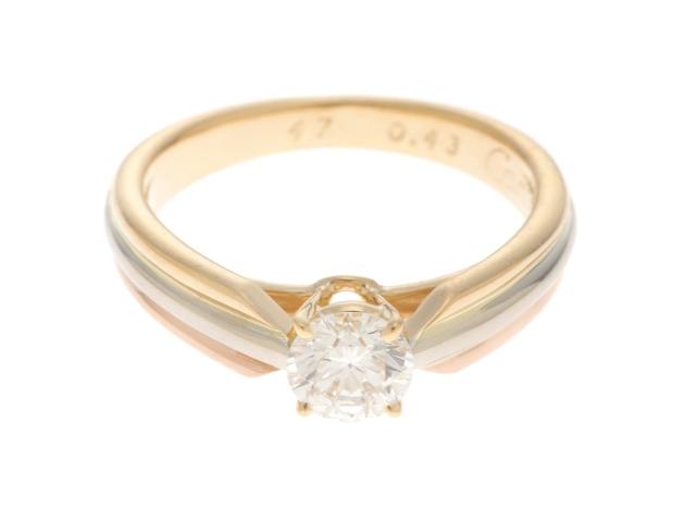 【送料無料】Cartier カルティエ トリニティソリテール リング 指輪 3カラー ダイヤモンド 0.43ct 47号 【460】【中古】【大黒屋】