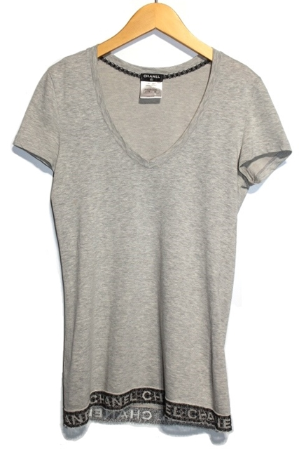 CHANEL シャネル Tシャツ Vネック P41322K03043 レディース36 グレー ロゴ コットン 【200】【中古】【大黒屋】