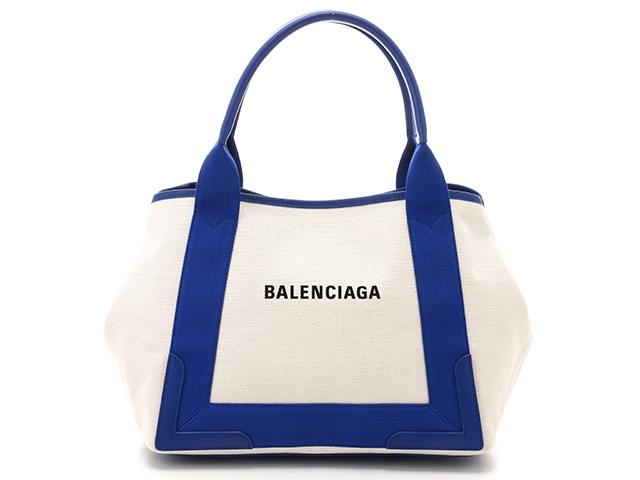 【送料無料】BALENCIAGA バレンシアガ ネイビーカバ S トートバッグ キャンバス レザー アイボリー ブルー 【474】【中古】【大黒屋】