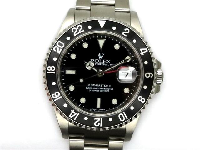 【送料無料】ROLEX ロレックス 時計 GMTマスターII 16710 ブラック SS P番台 オートマチック メンズ 【438】【中古】【大黒屋】