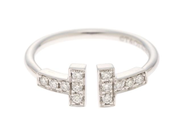 【送料無料】TIFFANY&CO ティファニー Tワイヤー ダイヤモンド リング WG/D 2.6g #9 【436】【中古】【大黒屋】