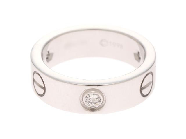 【送料無料】Cartier カルティエ WG ハーフダイヤモンド ラブリング 50号 【430】【中古】【大黒屋】