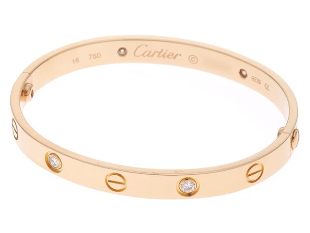 【送料無料】Cartier カルティエ ラブブレス ハーフダイヤモンド ピンクゴールド 27.3g #16【436】【中古】【大黒屋】