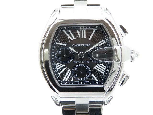 【送料無料】Cartier 時計 ロードスター オートマチック クロノグラフ機能 カレンダー機能 黒文字盤 ステンレススチールSS メンズ【430】【】【大黒屋】
