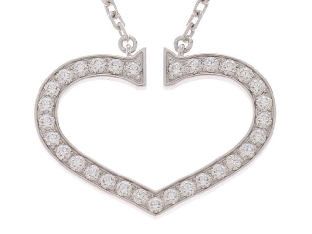 Cartier カルティエ Cハート ネックレス WG ホワイトゴールド ダイヤモンド 9.2g 【433】【中古】【大黒屋】