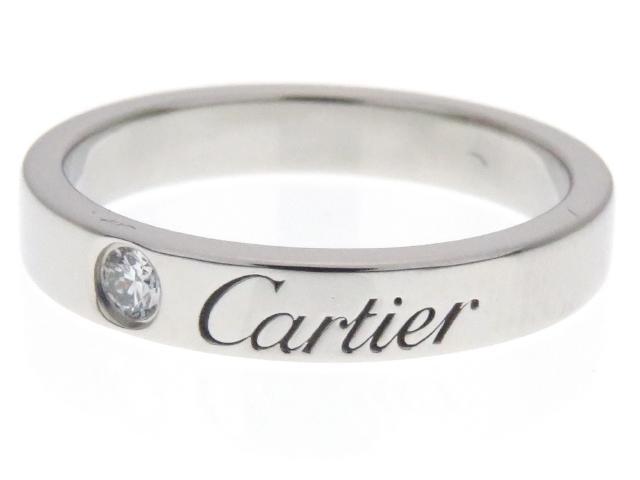 Cartier カルティエ ダイヤモンド リング Cドゥカルティエウェディングリング PT 1PD 4.4g #47【204】【中古】【大黒屋】