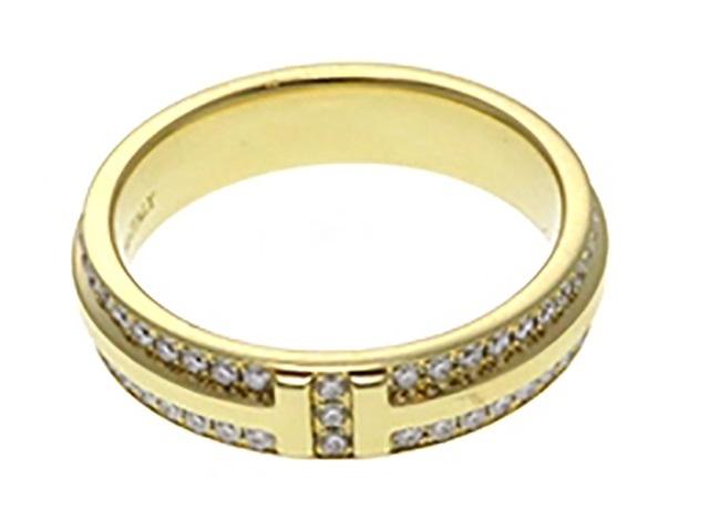 【送料無料】TIFFANY&CO  TTWOナローリング YGイエローゴールド ダイヤモンド 約11.5号 【430】【中古】【大黒屋】