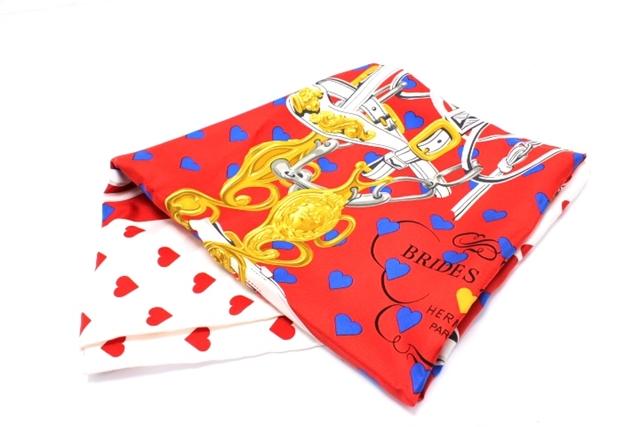 HERMES エルメス  衣料品  スカーフ カレ87  シルク  ホワイト レッド 【460】【中古】【大黒屋】