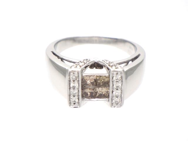JEWELRY ノンブランドジュエリー リング ホワイトゴールド K18WG ダイヤモンド 12.5号 【204】【中古】【大黒屋】