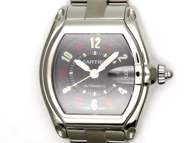 【送料無料】Cartier カルティエ 時計 ロードスターLM W62002V3 ブラック SS オートマチック 100m防水 メンズ【431】【中古】【大黒屋】