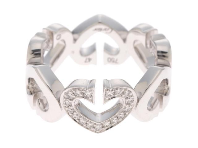 【送料無料】Cartier カルティエ Cハート ハート&シンボル リング 指輪 WG ホワイトゴールド ダイヤモンド 47号 【432】【中古】【大黒屋】