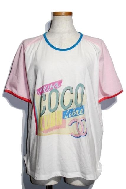 CHANEL シャネル Tシャツ レディース XL コットン ホワイト ピンク ココマーク C55838K07323 ココキューバ 2017年【432】【中古】【大黒屋】