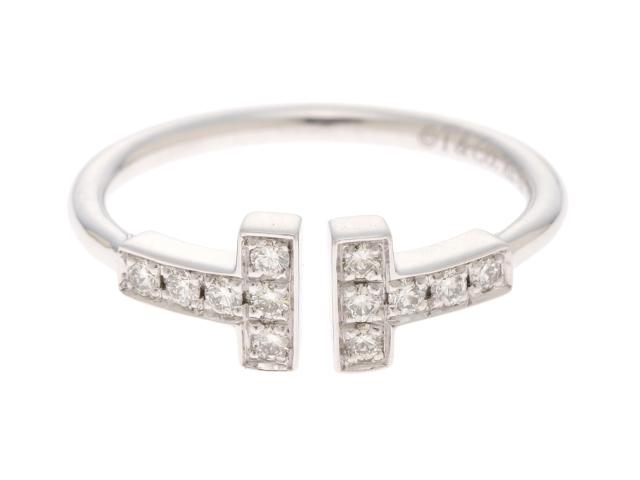 [送料無料]TIFFANY&CO 指輪 ダイヤモンド リング Tワイヤー ホワイトゴールド /WG/D/2.5g/#9 9号【472】【中古】【大黒屋】