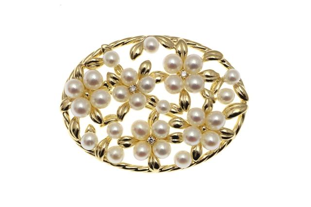 TASAKI タサキ ブローチ ゴールド パール ダイヤモンド 約13.6g SJ【472】【中古】【大黒屋】