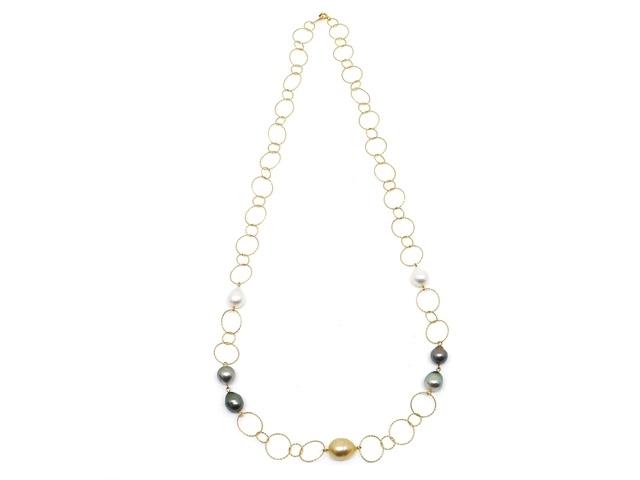 JEWELRY ノンブランドジュエリー デザイン ネックレス K18 パール 真珠 【200】【中古】【大黒屋】
