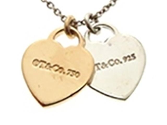 TIFFANY&CO ティファニー ダブルハートネックレス シルバー925 ルペドメタル 3.2g 【430】【中古】【大黒屋】