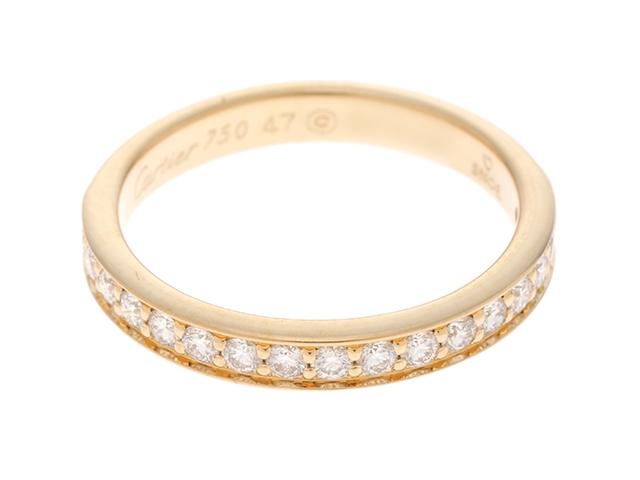 【送料無料】Cartier カルティエ ハーフエタニティリング YG ダイヤモンド 47号(日本サイズ約7号) 【436】【中古】【大黒屋】
