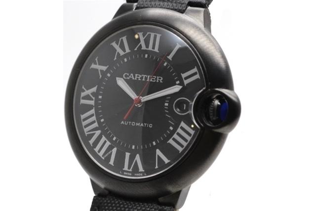 【送料無料】Cartier カルティエ 時計 バロンブルー WSBB0015 オートマチック 自動巻き メンズ 42.0mm ブラック文字盤 SS ステンレス ADLC加工 【472】【中古】【大黒屋】