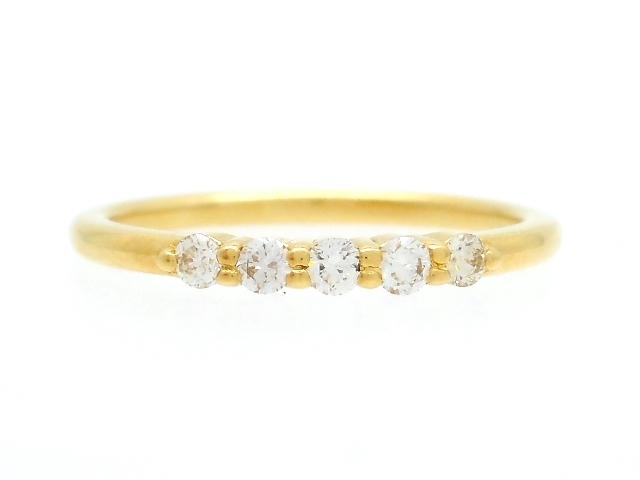 AHKAH アーカー 貴金属・宝石 リング 指輪 イエローゴールド K18 ダイヤモンド 0.1ct 1.0g 1号 【200】【中古】【大黒屋】
