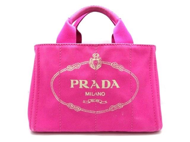 PRADA プラダ ハンドバッグ ミニカナパ ピンク キャンバス 【474】【中古】【大黒屋】
