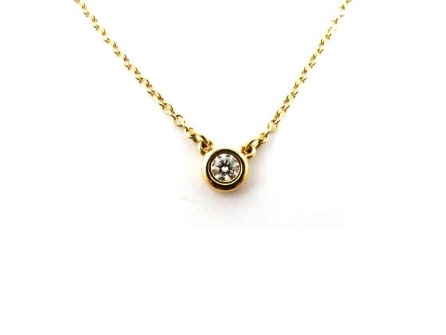 TIFFANY&CO ティファニー バイザヤード ピンクゴールド ダイヤモンド1P ネックレス PG 1PD 【433】【中古】【大黒屋】