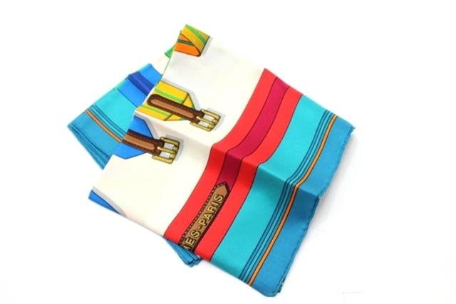 HERMES  エルメス 衣料品  スカーフ  シルク  ブルー アカ ベルト カレ90 【430】【中古】【大黒屋】