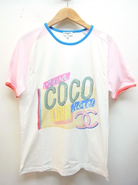 CHANEL シャネル Tシャツ レディースS ココキューバ コットン ホワイト ピンク 【432】【中古】【大黒屋】