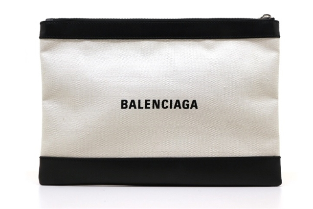 BALENCIAGA バレンシアガ バッグ クラッチバッグ ブラック アイボリー キャンバス レザー 373834 【200】【中古】【大黒屋】