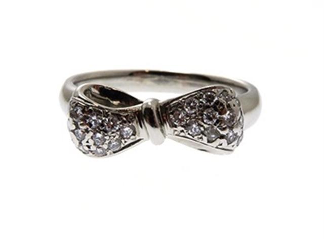 【送料別】NINA RICCI 貴金属・宝石 リング 指輪 プラチナ ダイヤモンド リボン  PT900/D0.20/6.5g/#14【430】【中古】【大黒屋】